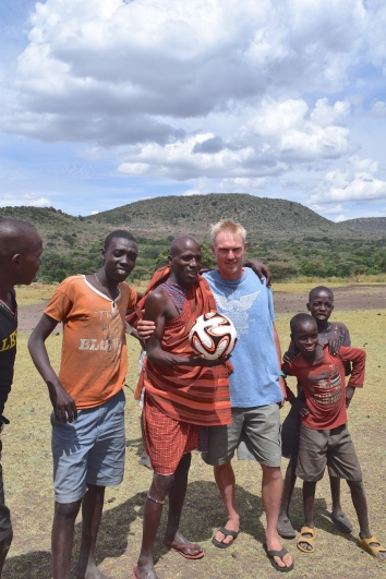 Masai boys were given a soccer ball thanks to Charity Ball